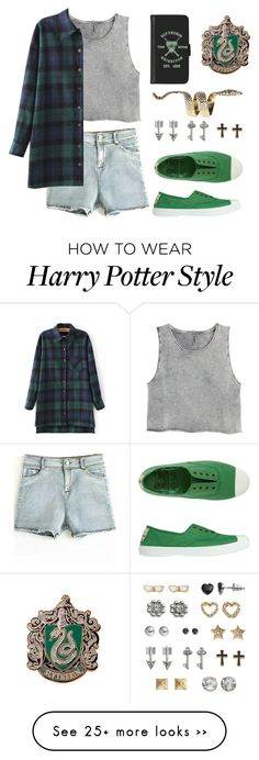 """Slytherin"" by waywardfandoms on Polyvore featuring H&M, Toast, Boohoo, SO, harrypotter and slytherin"