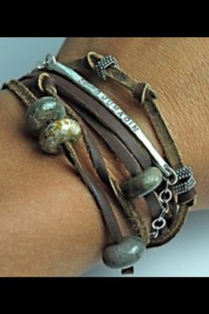 Large beads on leather