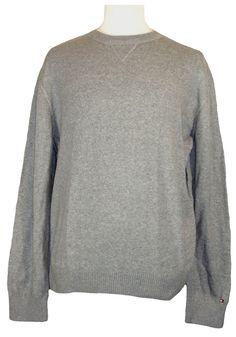 NEW Tommy Hilfiger Mens Sweater CLAYTON Crewneck Heather Grey Sz XXL 2XL $79.50 #TommyHilfiger #Crewneck