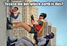 George Reeves as Superman, Burt Ward as Robin, and Adam West as Batman