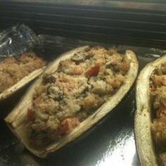 Stuffed Eggplant with Shrimp and Basil~ we had this last week 3/2012 and it was excellent.  Definitely one of my favorites :)