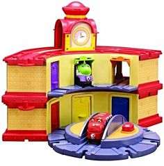 Chuggington Wooden Railway combines the charm of wooden  train play with the exciting world of Chuggington! Easy-to-  connect magnets are simple to connect to other vehicles.  Chuggington Wooden Railway is compatible with other wooden  track systems.