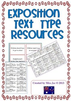 This 17 page product contains resources to be used with an exposition or a persuasive argument genre/text type unit.