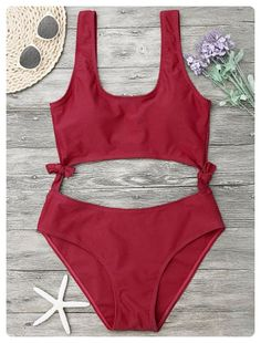 One Piece Cut Out Bowknot Swimwear (Red)