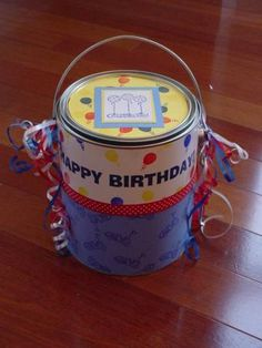Happy Birthday Paint Can by M Shine - Cards and Paper Crafts at Splitcoaststampers Happy Birthday Painting, Recycled Jars, Metal Tins, Paint Cans, Repurposing, Creative Ideas, Best Gifts, Paper Crafts, Parties