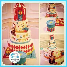 This 4 tiered fondant circus themed birthday cake features a circus tent, polka dots, flag banner, and four adorable fondant circus animals! Circus 1st Birthdays, Carnival Cakes, Carousel Cake, Carnival Wedding, Specialty Cakes, Custom Cakes, Beautiful Cakes, Sheep, Fondant