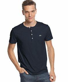 Lacoste Shirt, Short Sleeve Pima Henley T-Shirt