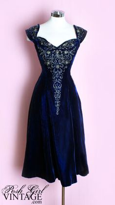 Gorgeous vintage dress from the 1950s  http://www.poshgirlvintage.com/1950s-blue-velvet-beaded-dress-p-217.html?zenid=pchommmrurvftqkmjfqajf9it6