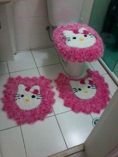 Jogo de banheiro Branco e rosa
