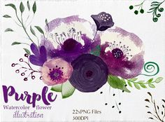 Watercolor Flowers Clipart Files  Purple High Res by Digitalbyli