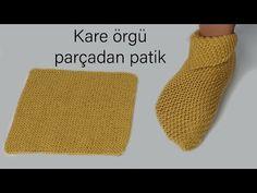 En kolay patik / kare örgü parçadan harika bot şeklinde patik / örgü modelleri / Figen Ararat - YouTube Knitted Slippers, Slipper Socks, Knitting Socks, Loom Knitting, Baby Knitting, Knitting Videos, Knitting Projects, Bed Socks, Baby Shawer