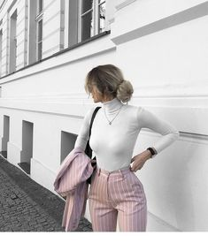 Work outfit for a lady | Inspiring Ladies Retail Therapy, Striped Pants, White Tees, Chic, Fashion Outfits, Dream Closets, How To Wear, Style, Afro