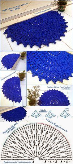 Ideas crochet rug diagram lace doilies for 2019 Crochet Mat, Crochet Carpet, Crochet Rug Patterns, Crochet Mandala Pattern, Crochet Motifs, Crochet Home, Crochet Doilies, Crochet Bunny, Lace Doilies