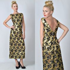 Vintage 60s Gold  Black Maxi Mod Dress Cocktail by thekissingtree, $109.00