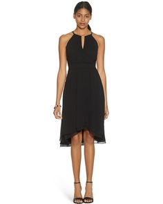 White House | Black Market Sleeveless Fit and Flare Soft Wrap Black Dress #whbm