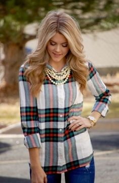 Image: Plaid and Pearls.