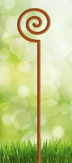 Pflanzenstab kunstvoll aus edelrost mit blumentopf halter - Rostige gartendekoration ...