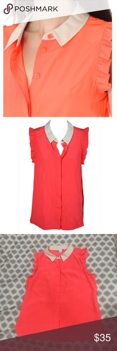 Diane Von Furstenburg DVF, Caldwell ruffle Blouse Silk blouse with ruffle sleeves, giving off a girlish appeal to an elegant look. Food over collar, hem curves into rounded slits on the sides Diane von Furstenberg Tops Blouses
