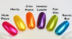 The Painted Nail Spring/Summer 2011 Collection: Malibu Dreams, Mestiza, Citrus Sparkle, Legendary Lavender, Fairy Wings, Electric Blue.
