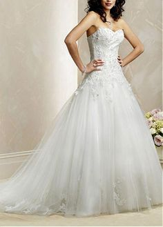 LACE BRIDESMAID PARTY BALL EVENING GOWN IVORY WHITE FORMAL PROM STUNNING STRAPLESS A-LINE WEDDING DRESS
