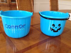 Personalized trick or treat pumpkins by DJCcreations2013 on Etsy