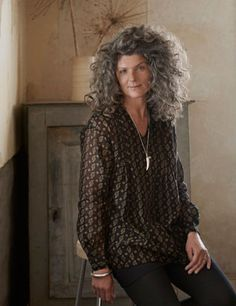 Gorgeous smock top...and this woman has the hair I will have when I'm older!
