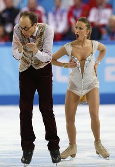 Zhiganshina and Gazsi of Germany during the figure skating team ice dance short dance at the Sochi 2014 Winter Olympics