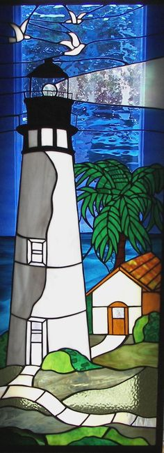 Lighthouse with doves Stained Glass Quilt, Faux Stained Glass, Stained Glass Designs, Stained Glass Panels, Stained Glass Projects, Stained Glass Patterns, Leaded Glass, Mosaic Glass, Mosaic Art