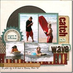scrapbook layout beach ~for the Hart, Lake Michigan photos.