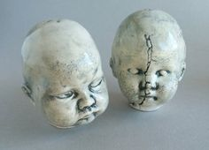 Salt and Pepper Shakers - Creepy Baby Doll Heads, ceramic salt and pepper shakers, salt and pepper shaker set of 2