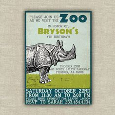 Zoo safari birthday invitation