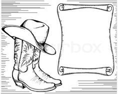 Free Cowboy boot hand Embroidery Design | Cowboy boots and hatVector graphic illustration isolated