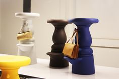 marcel wanders new barstools for mooi even have a hock for you handbag and comes in lovely colors! can't wait to try one out
