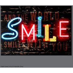 Graham & Brown bright neon multi-coloured smile text printed canvas... (1.775 UYU) ❤ liked on Polyvore featuring home, home decor, wall art, backgrounds, words, text, art, quotes, phrase and saying