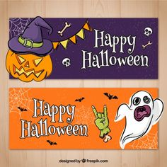 Hand drawn halloween party banners  Free Vector