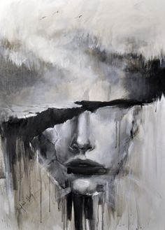 painting by Józefina Litwin  (acrylic on canvas)   #acrylicpainting #acrylic #abstract #illustration #illustrator #abstractface #blackandwhite #bw #blackandwhitepaintings #graphic #woman #graphicdesign #wallpaper #portrait #tatoo #inspiration #artwork #art #painting #surrealism #blacklips #fog #forest #birds #cracks #modern #housedesign #modernart #doubleexposure