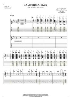 California Blue sheet music by Roy Orbison. From album Mystery Girl (1989). Part: Notes and tablature for guitar - guitar 1 and 2 part.