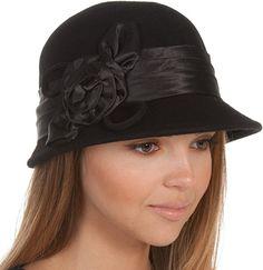 Vintage Style Wool Cloche Bucket Winter Hat with Satin Flower $23.99 AT Vintagedancer.com