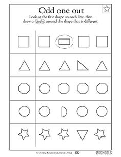 One of these shapes is not like the others! In this coloring worksheet, your child identifies the one geometric shape in each row that doesn't match the others.