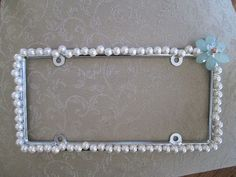car accessory pearl beaded bling license plate frame