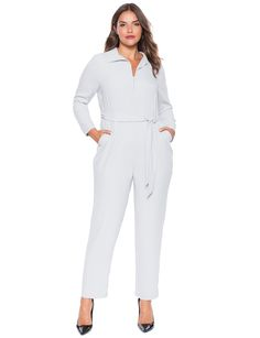 Studio Zip Front Jumpsuit   Women's Plus Size Dresses   ELOQUII