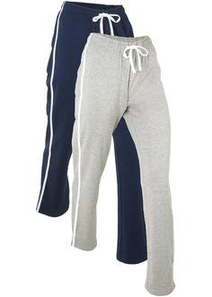 Lot de 2 pantalons de jogging, longs bleu foncé/gris clair chiné - Femme - bpc bonprix collection - bonprix.fr