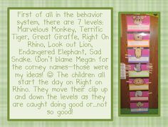 Behavior system that would be great for a safari themed classroom.  All printables and parent letter are free.