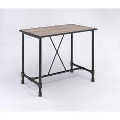 Caitlin Rustic Oak And Metal Bar Table (Bar Table, Rustic Oak U0026 Black)