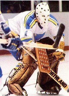 Mike Liut - St. Louis Women's Hockey, Hockey Games, Hockey Stuff, Hockey Posters, Blues Nhl, Goalie Mask, Nhl Players, St Louis Blues, National Hockey League