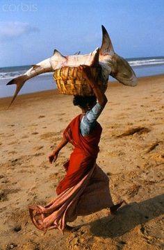 On the beach south of Madras (Chennai) on the Coromandel Coast of southern India.