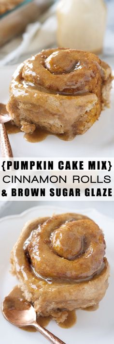 These Pumpkin Cake Mix Cinnamon Rolls are made easier by starting with a cake mix then drizzled in a delicious brown sugar maple glaze! Your family will love waking up to these!: