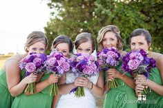 Purple and green wedding inspiration with bouquets by Bells & Whistles