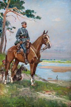 WOJCIECH KOSSAK (1856 - 1942) MARSZAŁEK JÓZEF PIŁSUDSKI NA KASZTANCE olej, płótno / 75,5 x 50,5 cm sygn. l.d.: Wojciech Kossak