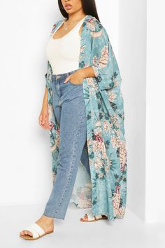 Long Kimono Outfit, Look Kimono, Kimono Coat, Satin Kimono, Cute Swag Outfits, Boho Outfits, Fashion Outfits, Casual Outfits, Womens Fashion
